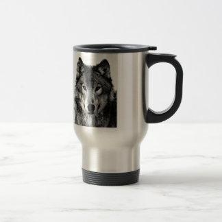 Black & White Wolf Eyes Travel Mugs