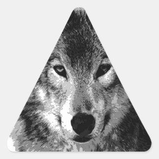 Black & White Wolf Eyes Triangle Sticker