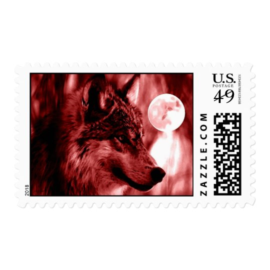Black & White Wolf Face Postage