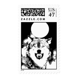 Black & White Wolf & Full Moon Postage
