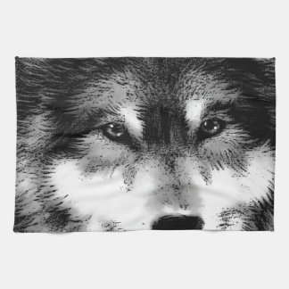 Black & White Wolf Hand Towel