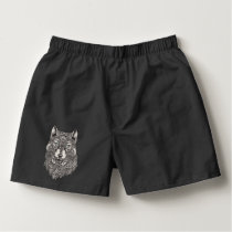 Black & White Wolf Head Boxers