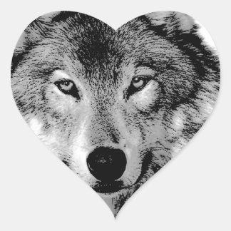 Black & White Wolf Heart Sticker