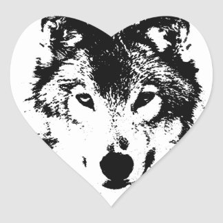 Black & White Wolf Heart Sticker