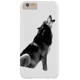 Black & White Wolf Howling at Moon Barely There iPhone 6 Plus Case