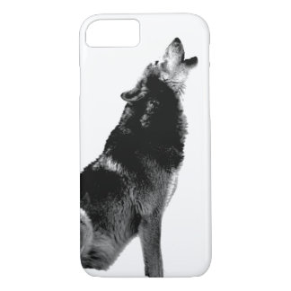 Black & White Wolf Howling at Moon iPhone 7 Case