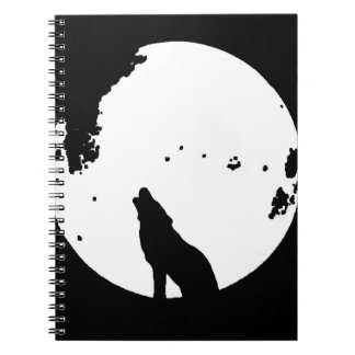 Black & White Wolf Howling at Moon Notebook