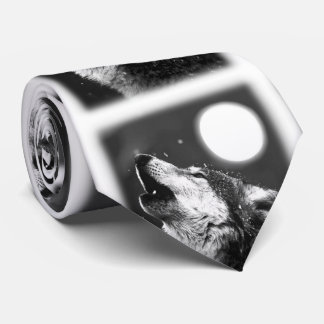 Black White Wolf Howling at Moon Tie