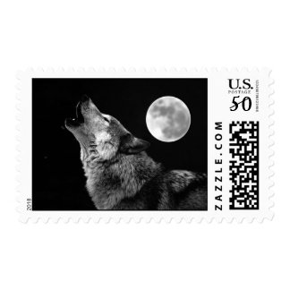 Black & White Wolf Howling Postage Stamps