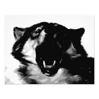 Black White Wolf Personalized Invites