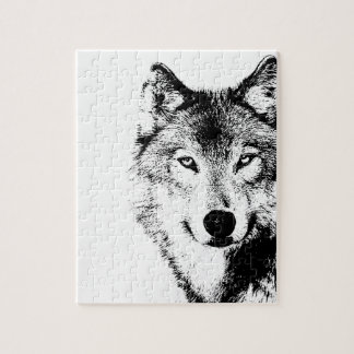 Black & White Wolf Jigsaw Puzzle