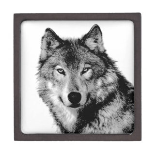 Black & White Wolf Keepsake Box