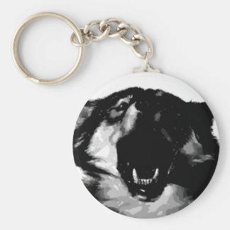 Black & White Wolf Keychain