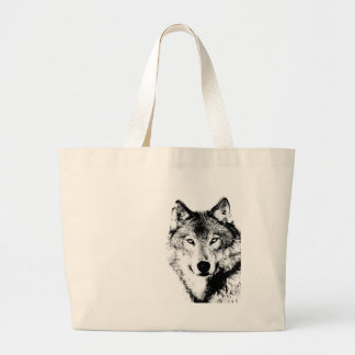 Black & White Wolf Large Tote Bag
