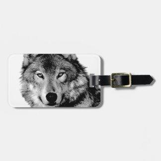 Black & White Wolf Luggage Tag