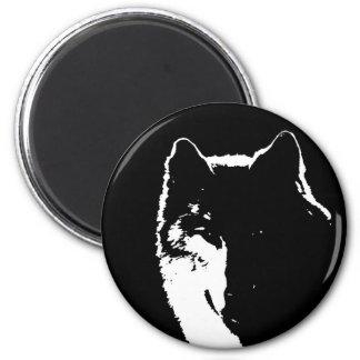 Black & White Wolf Refrigerator Magnets