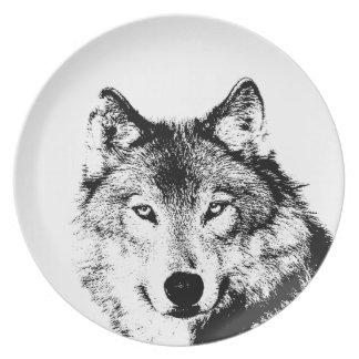 Black & White Wolf Melamine Plate