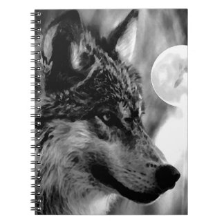 Black & White Wolf, Moon & Night Notebook