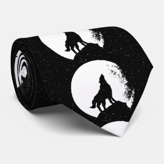 Black White Wolf & Moon Silhouette Neck Tie
