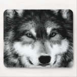 Black & White Wolf Mouse Pad