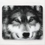 Black & White Wolf Mousepad