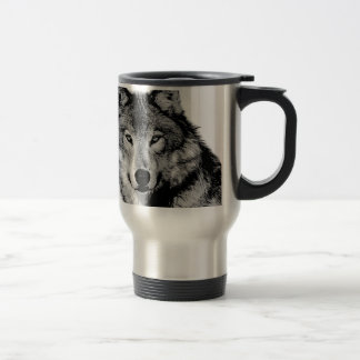 Black & White Wolf 15 Oz Stainless Steel Travel Mug
