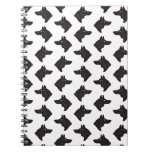 Black & White Wolf or Dog Head Silhouettes Pattern Notebook