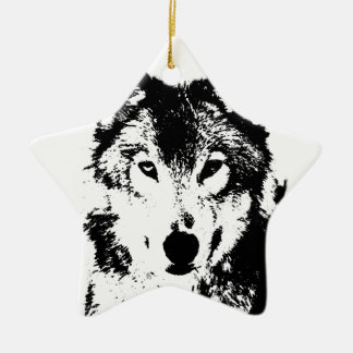 Black & White Wolf Double-Sided Star Ceramic Christmas Ornament