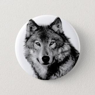 Black & White Wolf Pinback Button