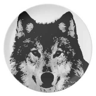 Black & White Wolf Plate