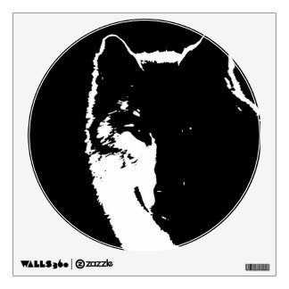 Black & White Wolf Pop Art Circle Wall Decal