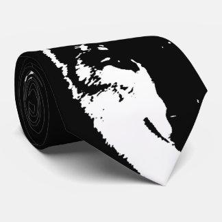 Black & White Wolf Pop Art Tie