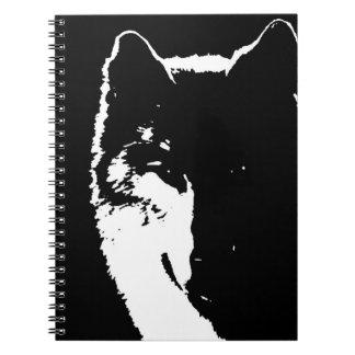 Black & White Wolf Portrait at Night Notebook