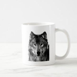 Black & White Wolf Portrait Coffee Mug