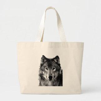Black & White Wolf Portrait Large Tote Bag