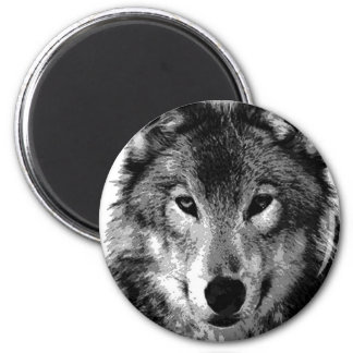 Black & White Wolf Portrait Magnet