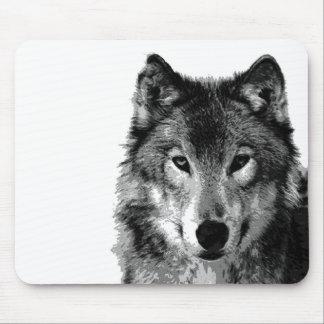 Black & White Wolf Portrait Mouse Pad