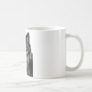 Black & White Wolf Portrait Classic White Coffee Mug