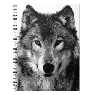 Black & White Wolf Portrait Notebook