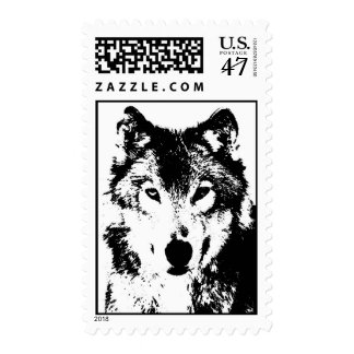 Black & White Wolf Portrait Postage