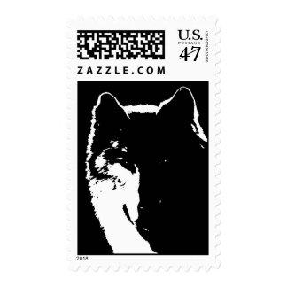 Black & White Wolf Portrait Silhouette Postage