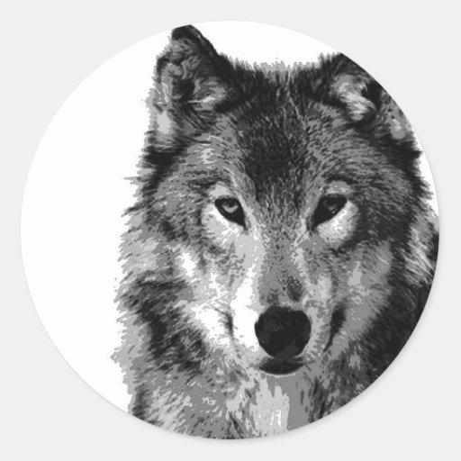Black & White Wolf Portrait Stickers