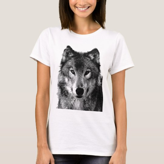 Black & White Wolf Portrait T-Shirt