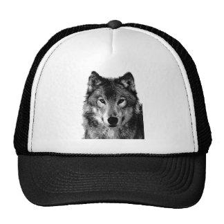 Black & White Wolf Portrait Trucker Hat