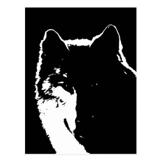 Black & White Wolf Postcard