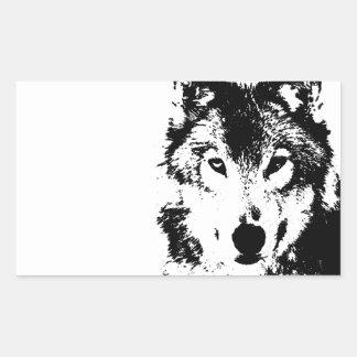 Black & White Wolf Rectangular Sticker