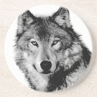 Black & White Wolf Sandstone Coaster