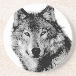 Black & White Wolf Sandstone Coaster
