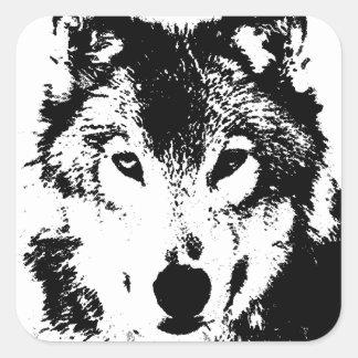 Black & White Wolf Square Sticker