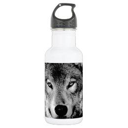 Black & White Wolf Stainless Steel Water Bottle